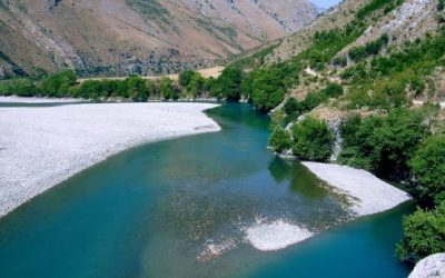 The embankment of the Shkumbin river